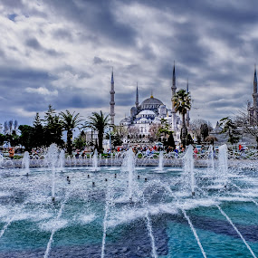 Istanbul - fountain by Romano Alberto Basso - City,  Street & Park  Fountains ( mosque, fountain, cityscape, turkey, istanbul )
