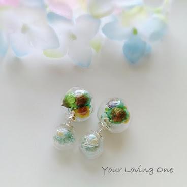 小雛菊雙球耳環(淺綠色滿天星)