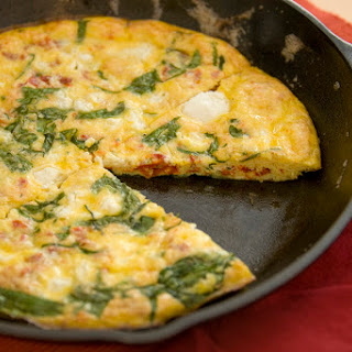 Shrimp, Spinach, Tomato and Goat Cheese Frittata.