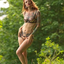 Manchester Lingerie by Rakesh Malik - Nudes & Boudoir Boudoir ( nude, lingerie, nature, boudoir, inked, forest )