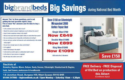 Silentnight Mirapocket 2000 Geltex Topaz Bed & Mattress Advert Mid Sussex Times 3 March