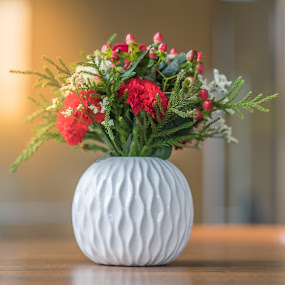 Flowers in a white vase. by John Greene - Flowers Flower Arangements ( arrangement, flowers, colorful flowers, romantic, vase, valentines day )