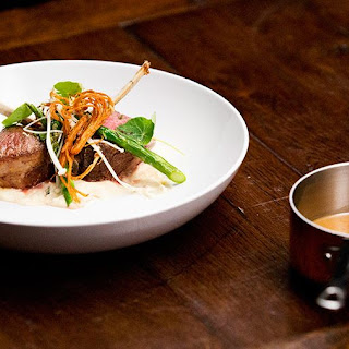 Lamb Cutlets with Smoked Parsnip Puree, Asparagus and Enoki