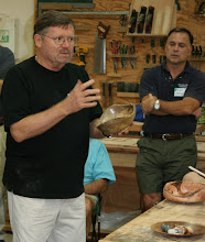 Photo: Richard Webster talks about his natural-edge bowl.