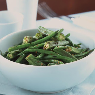 Stir Fried Okra and Green Beans.