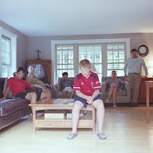 Photo: title: Ellen, Scott, Spencer, Ethan + Carter McKee + John O'Leary, Sr., Falmouth, Maine date: 2015 relationship: friends, art, met at Deering High School  years known: Ellen 20-25, Scott 0-5