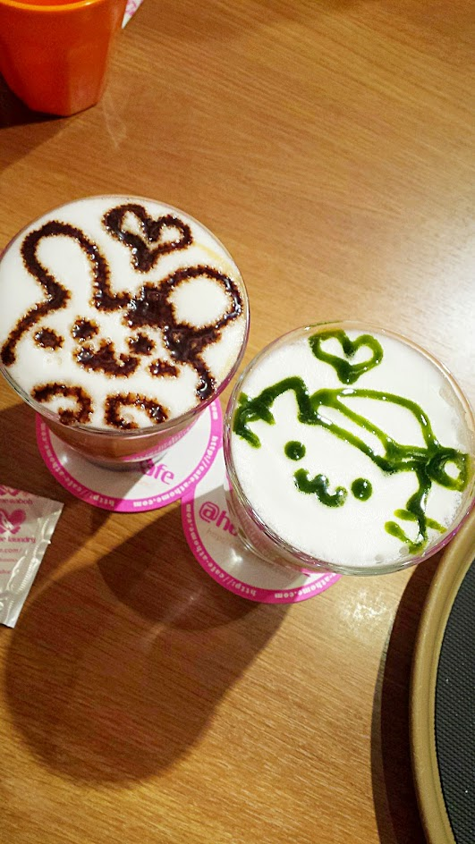 Inside Don Quixote, we stopped for lunch at @home maid cafe. For these Magic Sketch beverages, aka his mocha latte and my green tea latte, we got to choose which animal we could have drawn on our beverage.