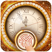 Golden Clock Fingerprint Lock Screen Prank