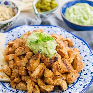 Grilled Chicken Shawarma with Avocado Tzatziki.