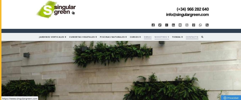 Accede a la página de inicio www.singulargreen.com