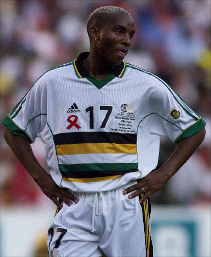 NOT FOR SALE: Benni McCarthy. 19/06/07. Sowetan.  Bennoi Carthy at the Nelson Mandelainauguration Challenge soccer match at Ellis Park, where the Bafana Bafana took on France.  Pic: Raymond Preston. 7/10/2000.  © ST.