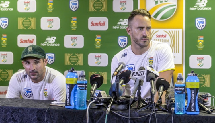 Captain Faf du Plessis of South Africa with Dean Elgar at the press conference during day 4 of the 3rd Sunfoil Test match between South Africa and India at Bidvest Wanderers Stadium on January 27, 2018 in Johannesburg.