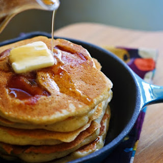 Bacon-Banana Pancakes with Buttery Bourbon Maple Syrup