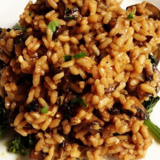 Mushroom Risotto over Broccoli Rabe