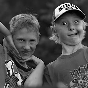 Silly Boys by Cindy Walker - Novices Only Portraits & People ( silly, black and white, children, candid )