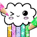 Kawaii Coloring Book Glitter icon