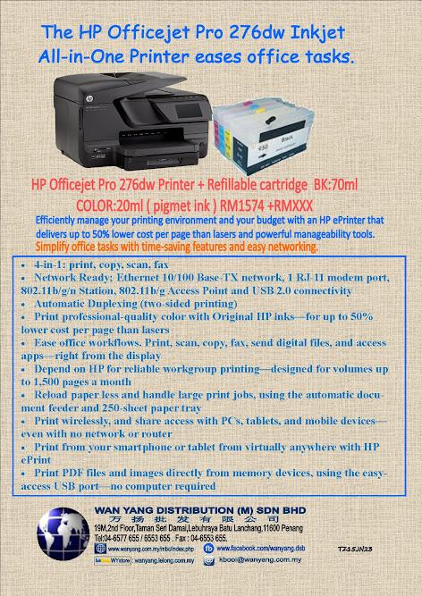 HP Officejet Pro 276dw + HP Refillable Cartridges Pro950/951
