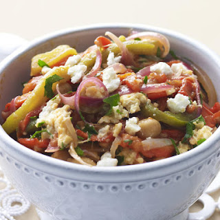 Goat Cheese with Chickpeas and Peppers.