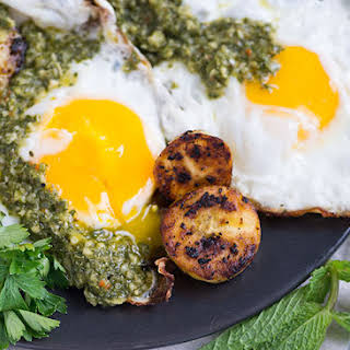 Fried Eggs Plantains and Chimichurri Sauce.