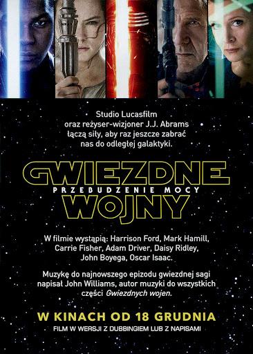 Tył ulotki filmu 'Gwiezdne Wojny: Przebudzenie Mocy'