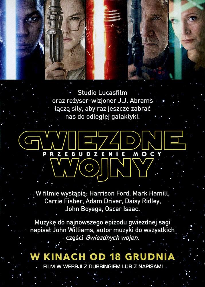 Ulotka filmu 'Gwiezdne Wojny: Przebudzenie Mocy (tył)'