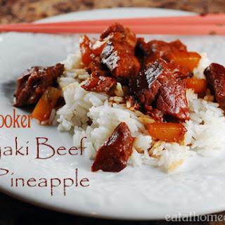 3 Ingredient Slow Cooker Beef Teriyaki with Pineapple.
