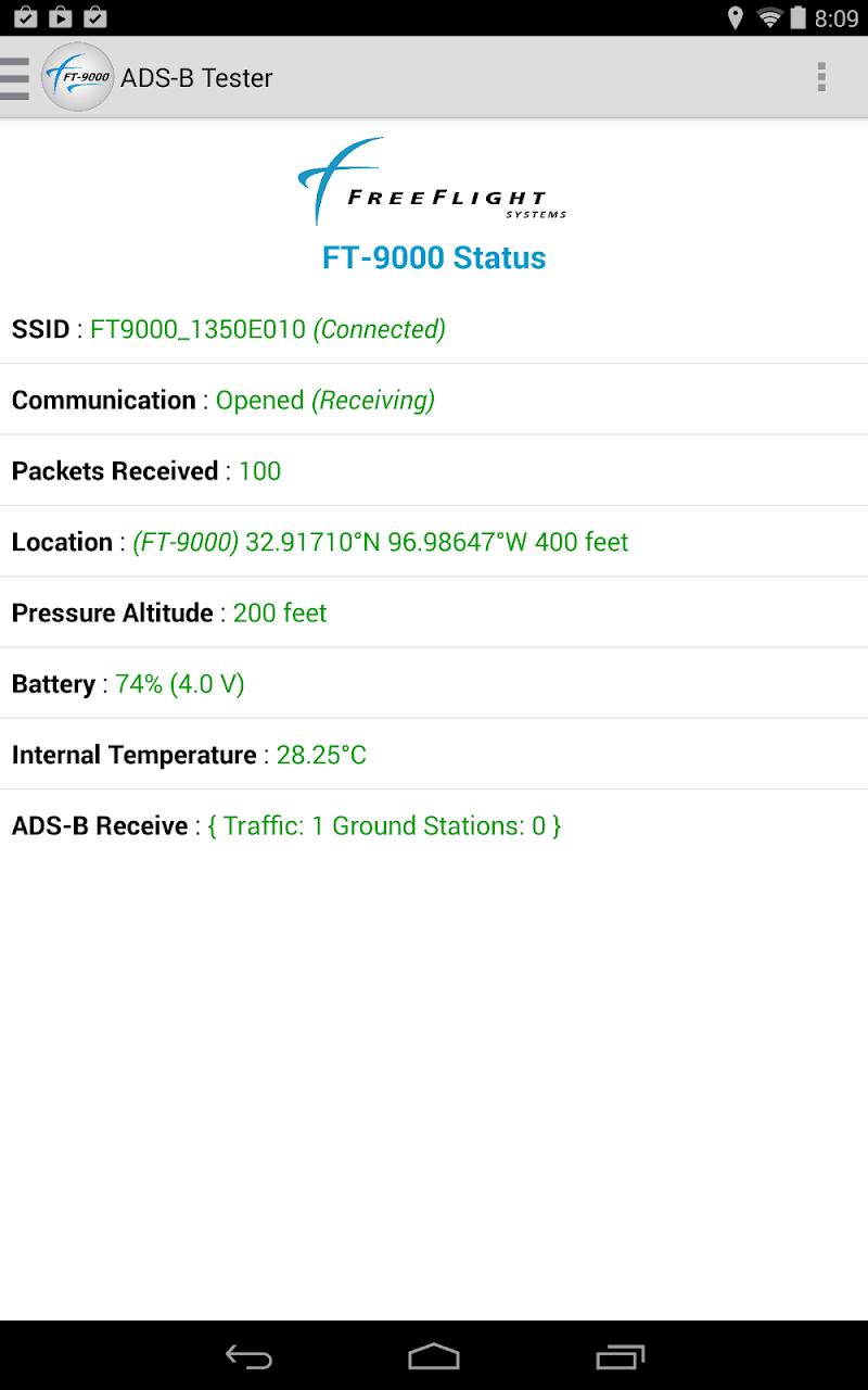 Скриншот ADS-B Tester