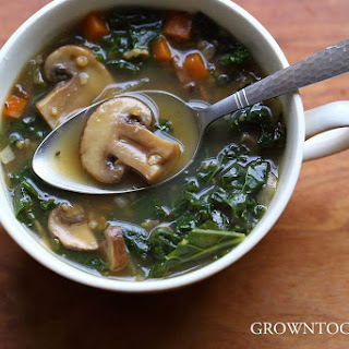 Mushroom, Spelt And Kale Soup.