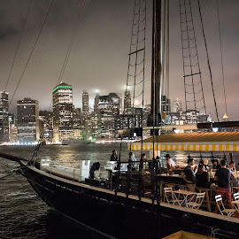 NYC by Bruce Forman - City,  Street & Park  Night ( boats, night, ny, city, brooklyn )