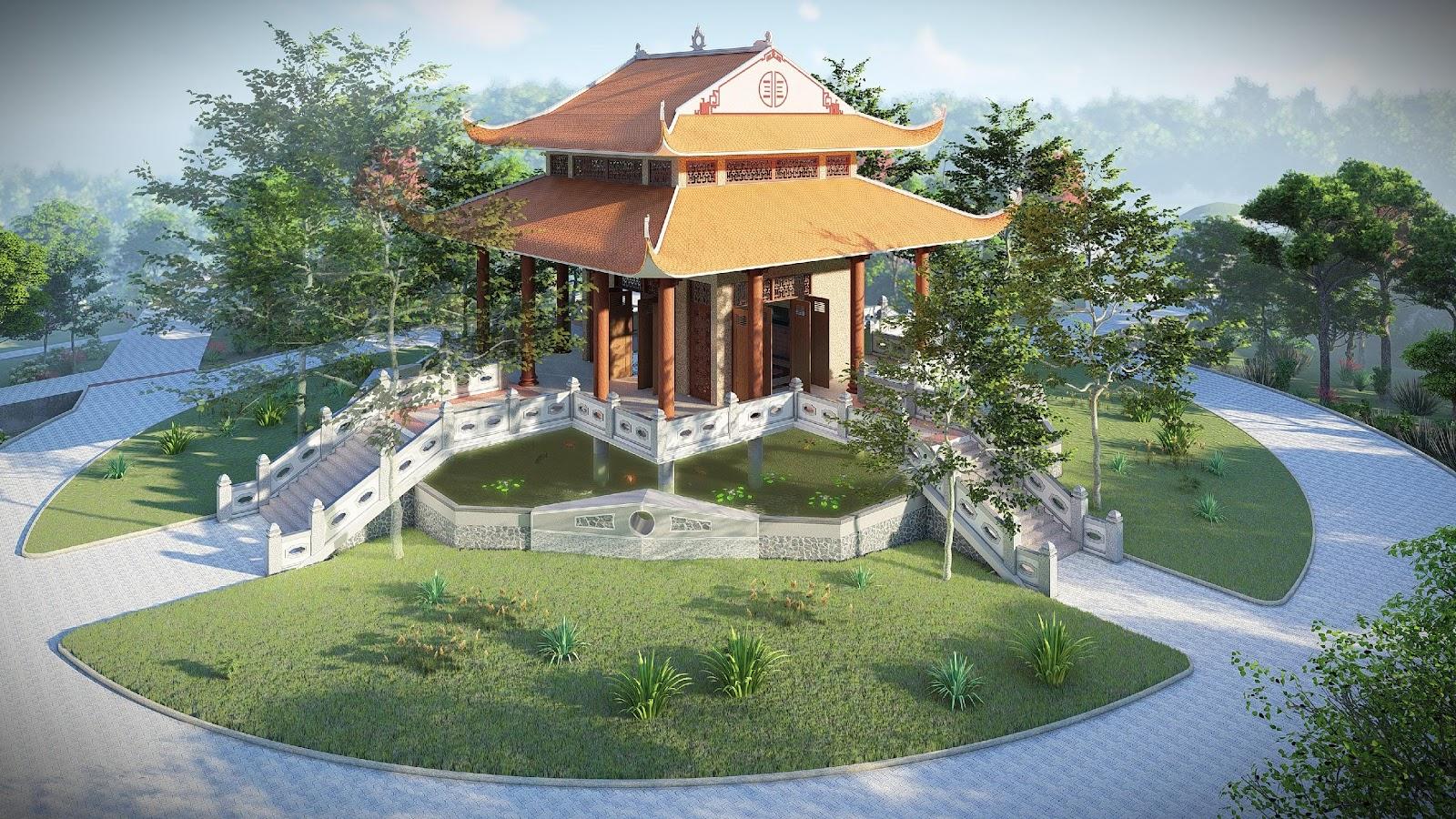 1. Đền thờ tại Khu di tích lịch sử Cách mạng Tức Dụp đang được Sao Mai Group đầu tư xây mới