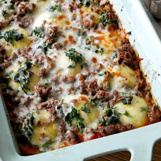 Cheese Ravioli Lasagna with Ground Beef.