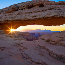 Mesa View by Dean Mayo - Landscapes Caves & Formations ( utah, moab, national park, sunrise, mesa view )