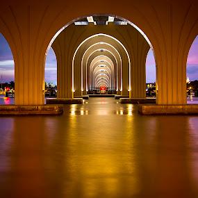Golden Arch's! by Ken Wagner - Buildings & Architecture Bridges & Suspended Structures ( waterscape, sunset, long exp, bridge, nikon, , #GARYFONGDRAMATICLIGHT, #WTFBOBDAVIS )