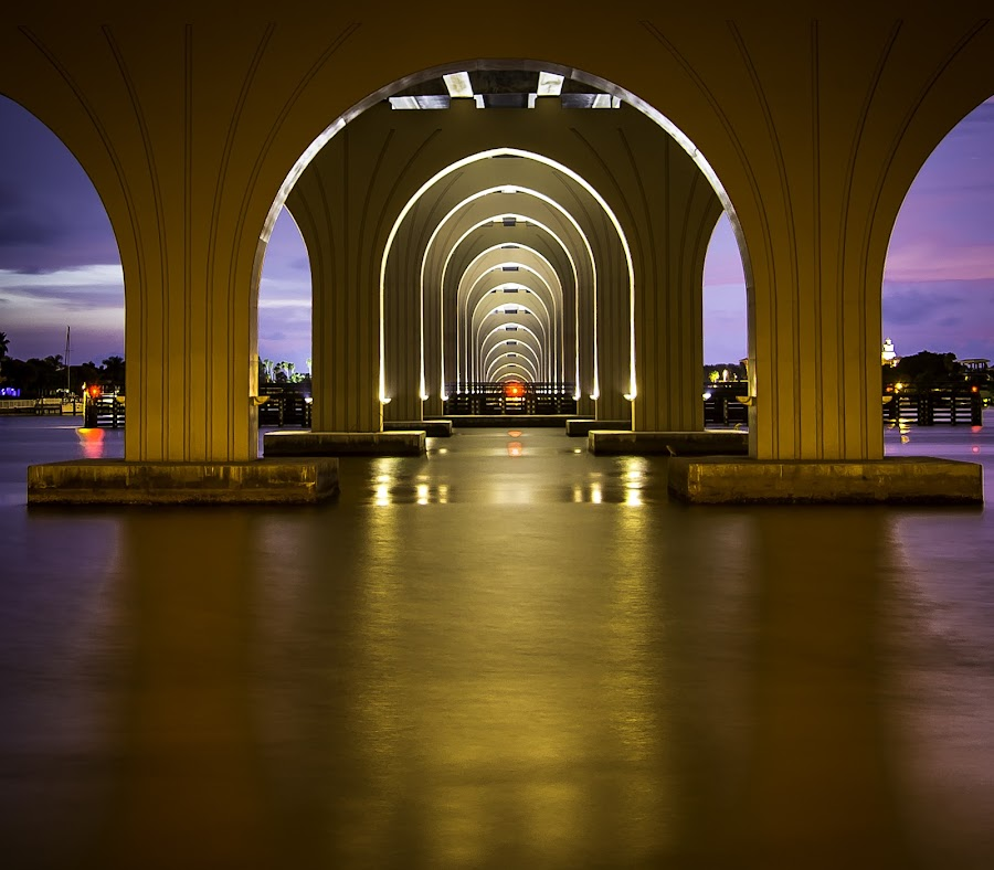 Golden Arch's! by Ken Wagner - Buildings & Architecture Bridges & Suspended Structures ( waterscape, sunset, long exp, bridge, nikon, , #GARYFONGDRAMATICLIGHT, #WTFBOBDAVIS )