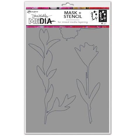 Dina Wakley Media Stencils 9X6 - Growing Mask