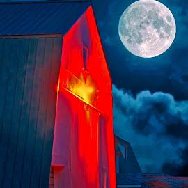 Full Moon Farm Scene by Bill Diller - Digital Art Things ( digital, orange, full moon, moon, michigan, barn, farm, barns, clouds, farmland, farm scene )