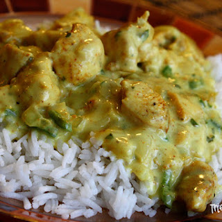 Basil Chicken in Coconut Curry Sauce.