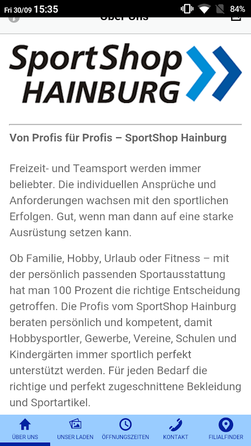 SportShop Hainburg – Screenshot