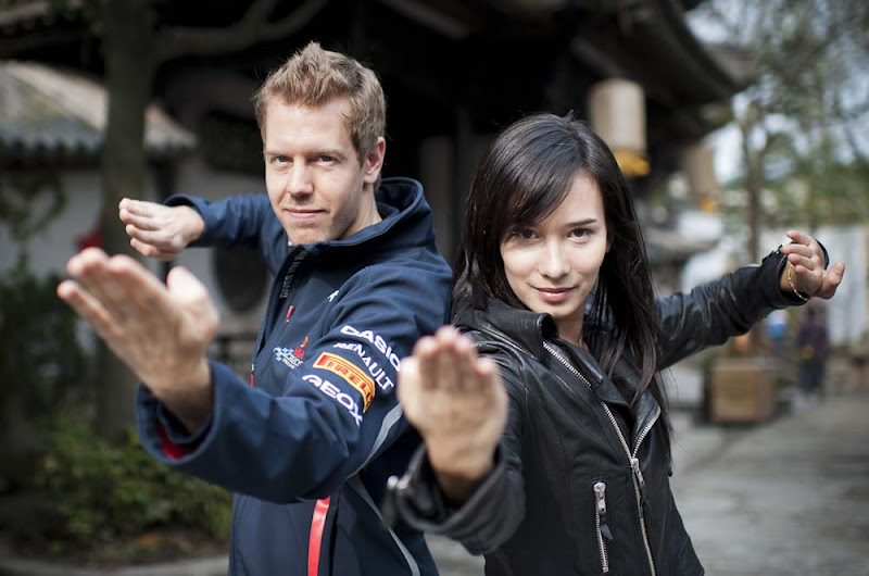Photo: Formula One World Champion Sebastian Vettel appears alongside Hollywood actress and martial artist Celina Jade at a Shanghai film studios, China, for the making of car brand Infiniti's martial arts short film, 'Kung Fu Vettel: Drive of the Dragon' . The film is the first in a series of virals from Infiniti to launch their Inspired Performers campaign on 11th April 2012. Photo by Victor Fraile / The Power of Sport Images for Infiniti