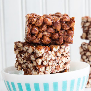 Chewy Chocolate Puffed Wheat Squares.