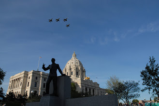 Photo: F-16's fly over the Capitol Building during Minnesota State's Sesquicentennial Celebration.