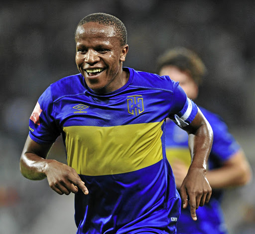 Unstoppable: Footballer of the Season Lebogang Manyama celebrates a goal against Kaizer Chiefs in April. Picture: BACKPAGEPIX