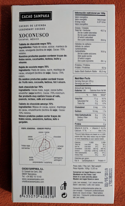 70% cacao sampaka xoconusco bar