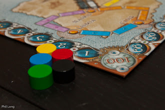 Photo: Player counters out as we set up Ticket to Ride; Europe ready for play on Friday night.