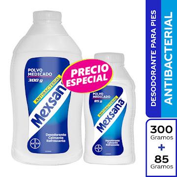 Oferta Talco MEXSANA   Medicado Triclosan x300g+85g Cuerpo Sp.Dto. x2Und