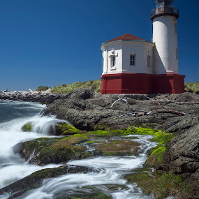 Coquille River Lighthouse by Jeff Fahrenbruch - Buildings & Architecture Public & Historical ( waves, lighthouse, ocean, seascape, rocks )