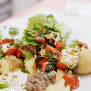 Lamb Meatball Salad with Roast Tomatoes.