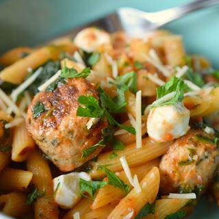 Penne with Chicken Meatballs and Mozzarella Recipe