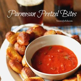 Homemade Parmesan Soft Pretzel Bites with Marinara Dipping Sauce.