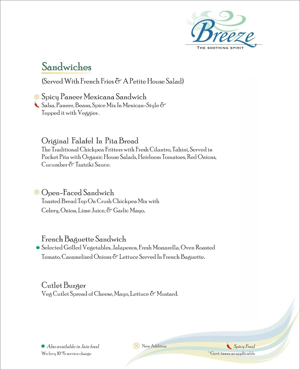 Breeze Lounge menu 5